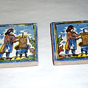 2 Vintage Holland Delft Small Polychrome Tiles Man Pressing Grapes
