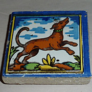 Vintage Holland Delft Small Polychrome Tile Leaping Dog