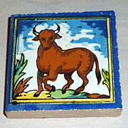 Vintage Holland Delft Small Polychrome Tile Prancing Bull
