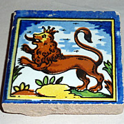 Vintage Holland Delft Small Polychrome Tile Leaping Lion with Crown