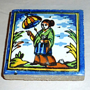 Vintage Holland Delft Small Polychrome Tile Japanese Woman with Umbrella