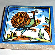 Vintage Holland Delft Small Polychrome Tile Peacock Prancing
