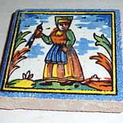 Vintage Holland Delft Small Polychrome Tile Woman with Bird in Hand