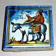 Vintage Holland Delft Small Polychrome Tile Man Takes Cow to Market