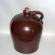 Antique 12� tall Brown Slip Glazed Stoneware Cider / Whiskey Jug