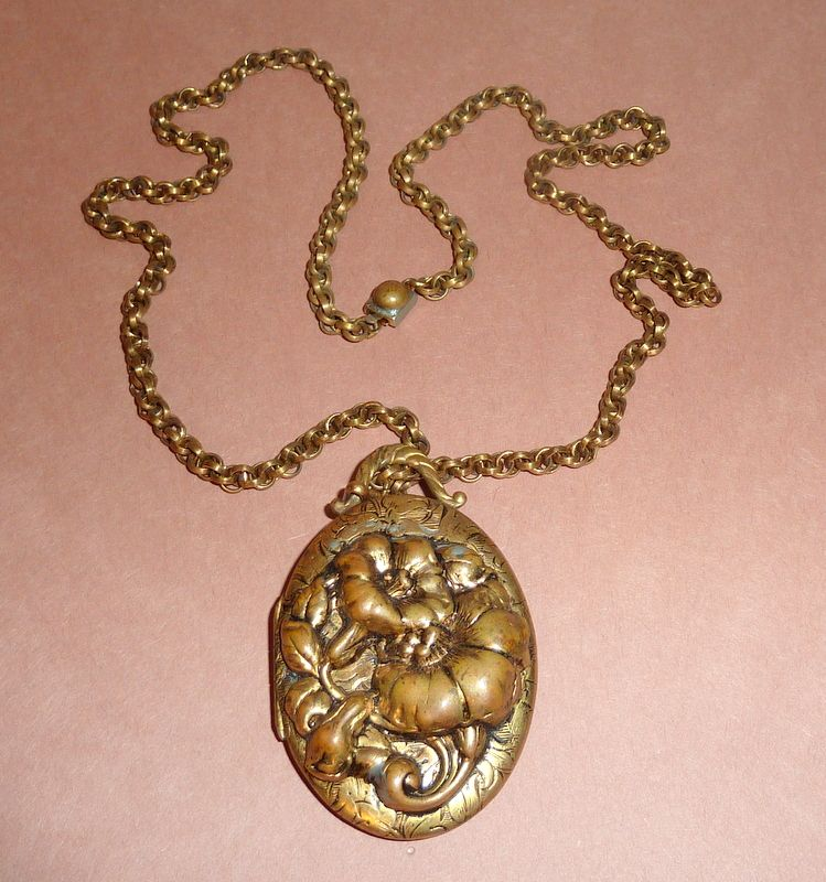 "Antique Raised Floral Art Nouveau 2"" Picture Locket Pendant with Chain"