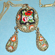 Antique Italian Micro Mosaic Necklace 2 Drop Pendant & Chain