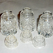 3 Vintage Cut Crystal 2 1/8&quot; Individual Place Setting Salt Shakers