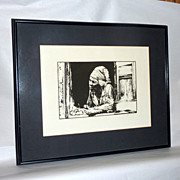D Minns signed Black White Litho - Old Black Woman Selling Fruits