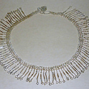 "Vintage Clear Glass Tube & Seed Beads Art Deco 15"" Fringe Necklace"