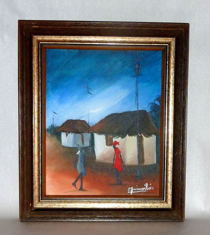 "Vintage 1970's Haitian Village 10"" Oil on Canvas by C. Sainvilier"