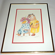 Framed Don Nedobeck pencil signed Print - French Cut - Cat & Bird