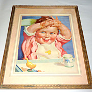 Vintage 1920 -1930 Framed Baby in Highchair Art Advertisement