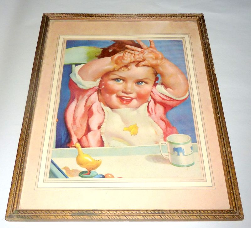 Vintage 1920 -1930 Print - Framed Baby in Highchair Art Advertisement
