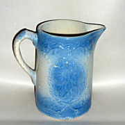 Antique Blue & White Stoneware 8 Apricot Relief Pitcher