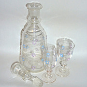 Circa 1910 Blown Glass Enamel Flowered 9� Cordial Decanter with two 3 �� Glasses