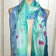 Vintage Hand Painted Light Floating Silk 68&quot; Long Blue Green Scarf