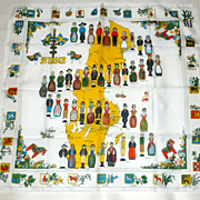 Vintage Alfred Keller 27&quot; Sverige Sweden Scarf Costumes Shields Flowers etc