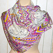 Vintage 34 Silk Scarf with Indian Maharajah Design & Hand Rolled Edges