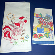 Vintage 1940's Kitchen Dish Towel Black Mammy Aunt Jemima Cooking