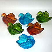 "6 Vintage Colored Molded Glass 2 1/2"" Open Salt Swans Green Blue Gold"