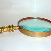 Victorian Ornate Brass 15&quot; Oversize Magnifying Glass with 5&quot; Face