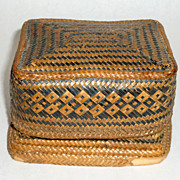 Rare Antique Native Woven Three Tier 4&quot; Basket Container Box Philippine Islands