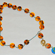 Vintage Greek Komboloi Worry Beads Amber Art Glass on Chain with Evil Eye