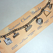 Vintage 1960's St. Louis Charm Bracelet Souvenir on Woolworth's Card