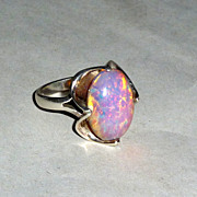 Stunning 1950 Dragon's Breath Raised Cabochon in Sterling Ring sz 10