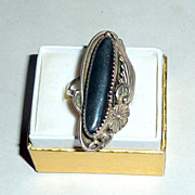 Vintage 1920's Southwest NA Sterling Squash Blossom & Leaf Hematite Ring sz 7