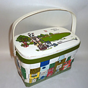 Vintage 1970's Caro Nan Signed Hand Painted Basket Bag Pebble Beach Golf Course