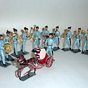 WWI France Lead Miniatures 12 piece Military Marching Band w/ Horse Drum