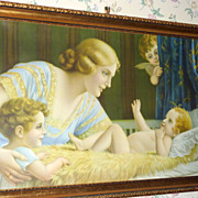 1920s Framed 42 Lithograph Fr. Laubnitz Mother & Child & Cherubs