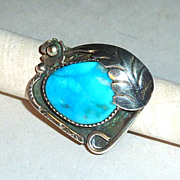 Vintage 1970's signed 1 1/2&quot; Navajo Sterling & Turquoise Flower Ring sz 7