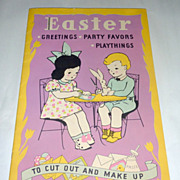 Vintage Whitman 1936 Easter 15 S/C Busy Book w/ Cut Outs & Cards & Toys (uncut)