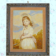 Vintage 1920 Stunning Needlepoint Picture Portrait in Hand Carved Wood 32 Frame