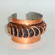 Vintage 1950s Fabulous Francisco Rebaje Modernist 2 wide Copper Bangle