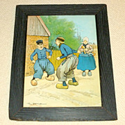 Rare 1902 Color Framed 18&quot; Litho Tom Browne FIGHTING DUTCHMEN