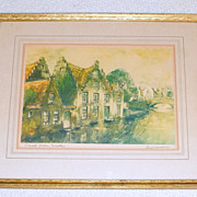 Vintage 1935 Pencil signed European Etching - Canal Near Nantes - Framed