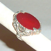 Antique Art Nouveau Sterling Dragons & Orange Marmalade Carnelian Ring sz 5