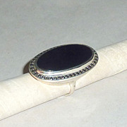 Vintage Black Jet / Onyx in Sterling Marcasite 1 1/2&quot; long Oval Ring sz 7
