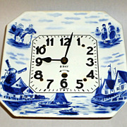 Vintage 1930's Germany Hand Painted Blue & White Porcelain 8 day Wall Clock