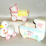 2 Vintage 1950's Ceramic Baby Buggy & Bassinet Flower Pots / Planters