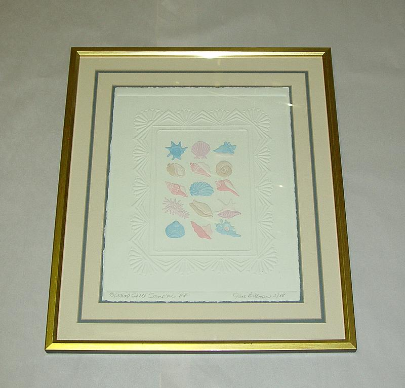 J. Billman Artist Proof 2/88 Sea Shells Embossed Print Nursery / Child's Room