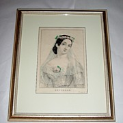 Antique N. CURRIER 1846 Lithograph GERTRUDE the Bride Framed