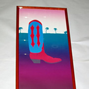 Fabulous signed Red Cowboy Boot + Palm Trees 36&quot; Lithograph 92/275