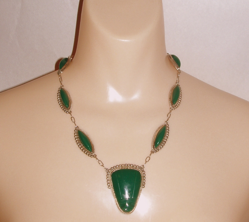 "Vintage Mexico ACE Guadalajara Green Glass Mask 25"" Sterling Necklace"