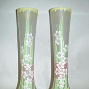 "Pair Early 1900 Enameled Glass Hand Painted 10"" Flower Vases"