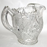 "Antique Heavy EAPG Ornate Sawtooth Rim 8"" Pot Belly Water Pitcher"